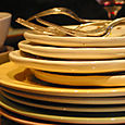 {many} plates and forks