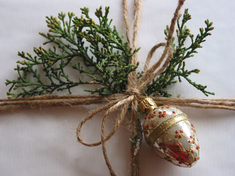 Christmas packages tied up with string